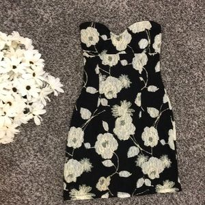 Strapless Floral Lacy Dress, Size Medium